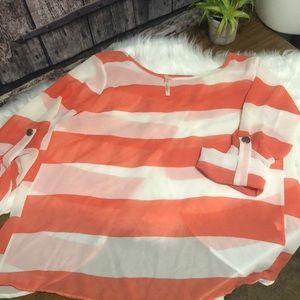 Rachel Kate LG coral/white stripe open back blouse